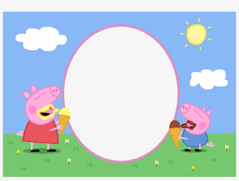 Peppa Pig Easter Png Peppa Pig Background Invitation Png Image