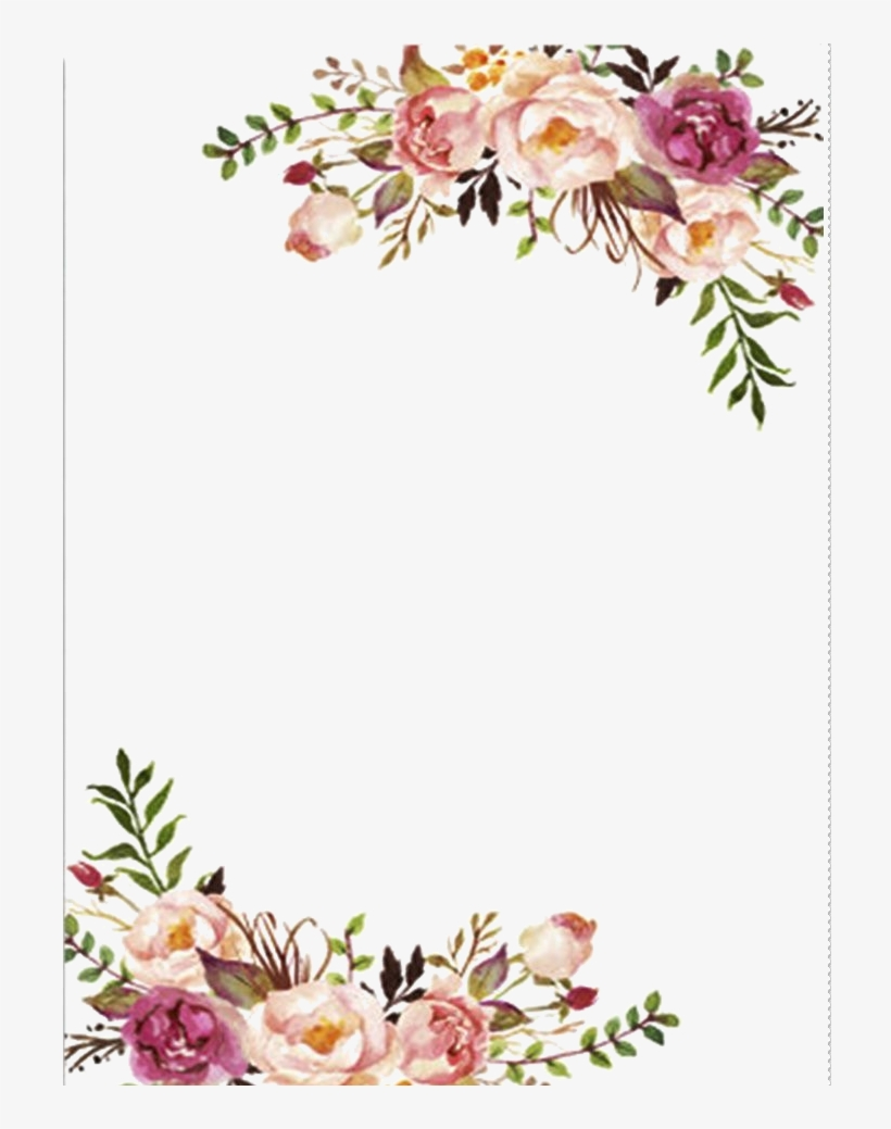 H804 (37) | Flower frame, Watercolor background |Flower Border Designs For Wedding Cards