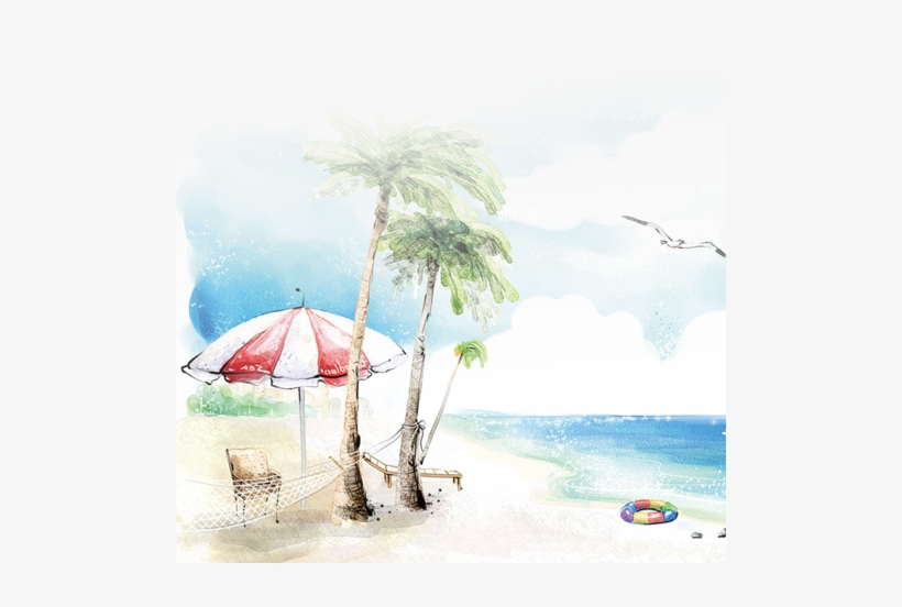 Beach Background Watercolor Png