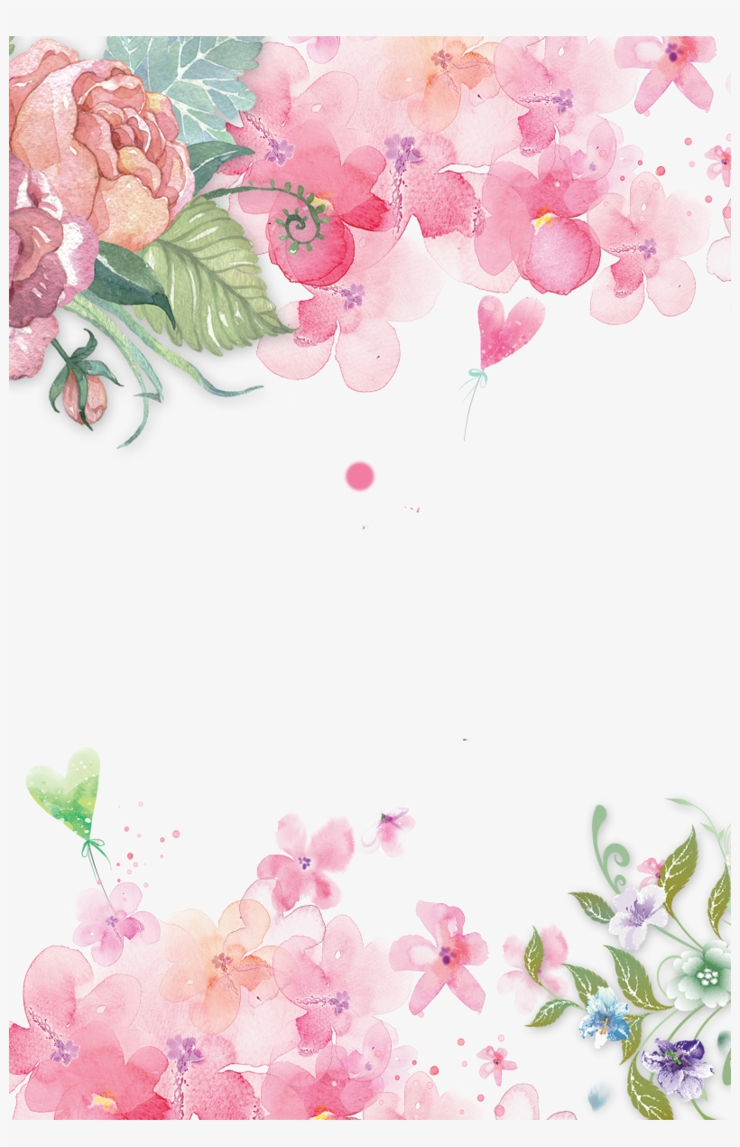Watercolor Flowers Shading Pink Flower Background Png