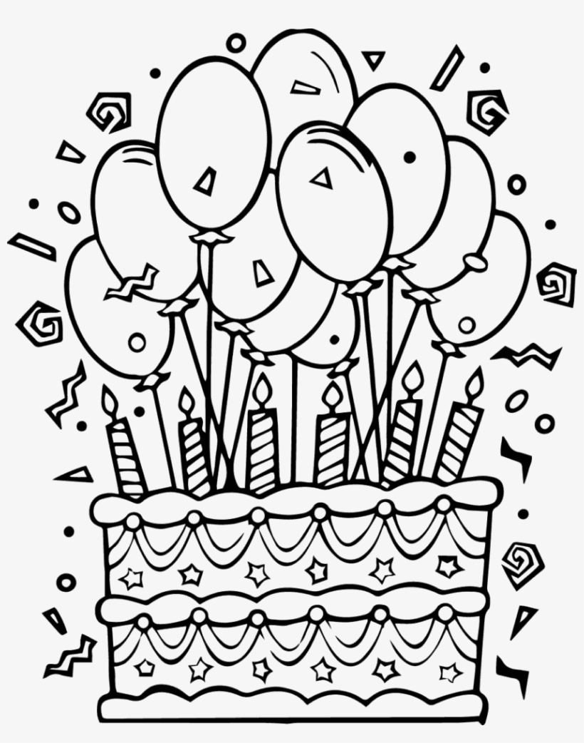Stupendous Birthday Cake Bday Cake Coloring Page Png Image Transparent Personalised Birthday Cards Beptaeletsinfo