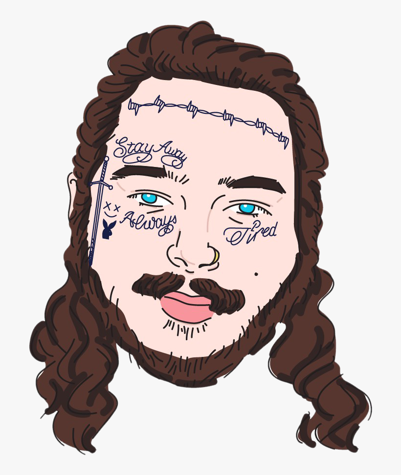 Post Malone Clip Art: Post Malone Face Tattoos PNG Image