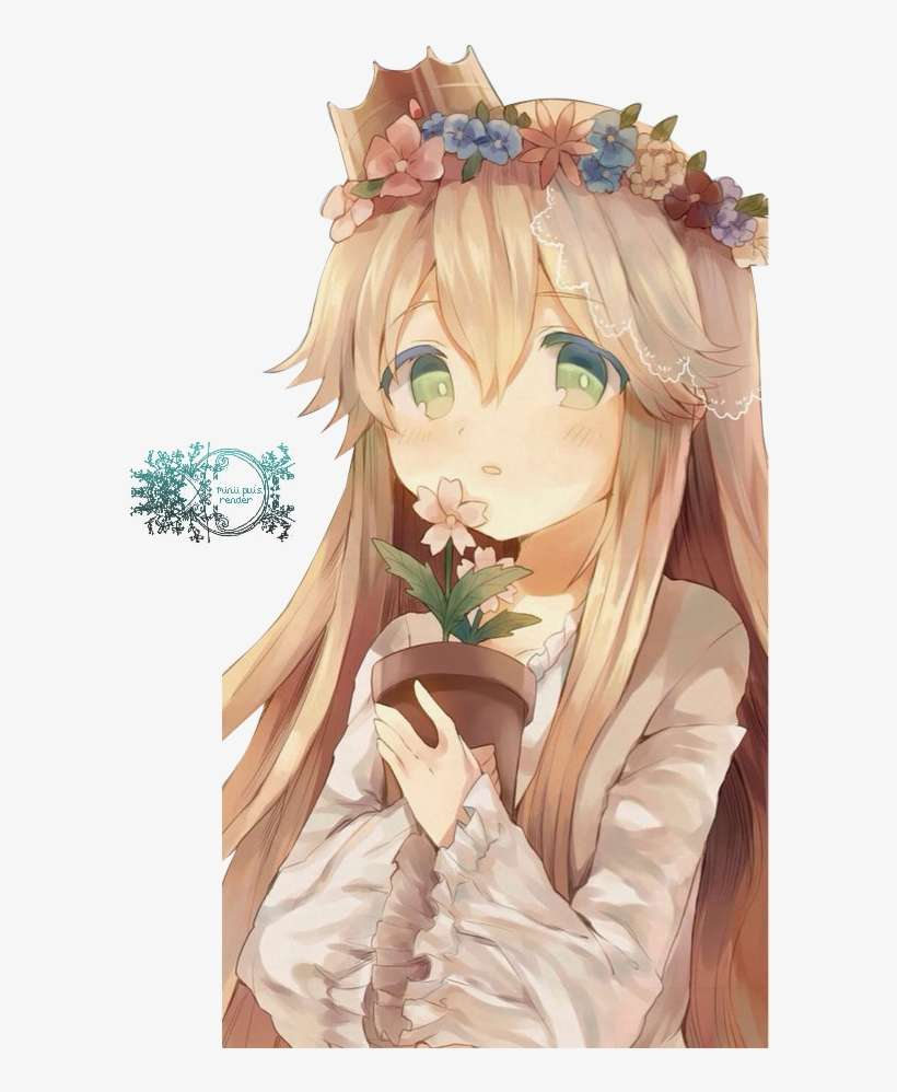 Flower crown girl render by pui small cute anime girl