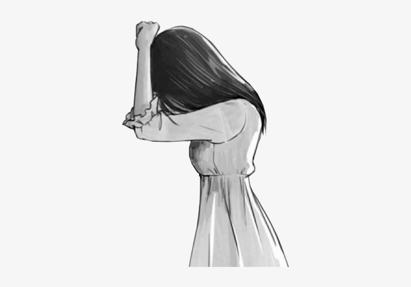 Drawing Anime Sadness Female Sketch - Anime Triste Para