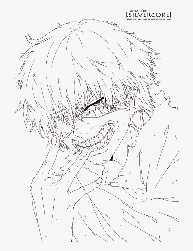 Tokyo Ghoul Kaneki Lineart By Silvercore94 Tokyo Ghoul Coloring Pages Png Image Transparent Png Free Download On Seekpng