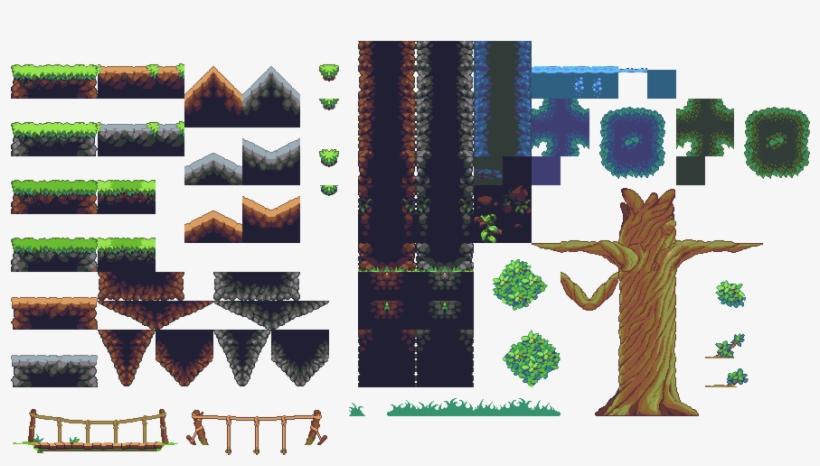 Jungle Terrain - Platformer Tileset Png PNG Image