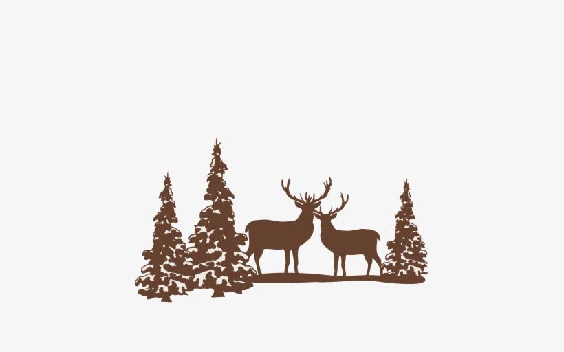 Bare Christmas Tree Svg.Reindeer Winter Scene Svg Scrapbook Cut File Cute Clipart