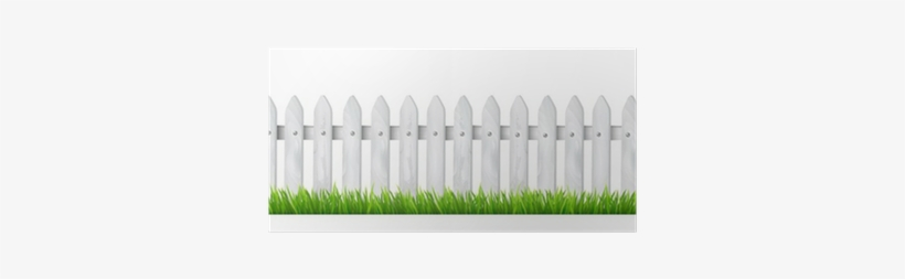 Background With A White Wooden Fence With Grass Desenho De Cerca