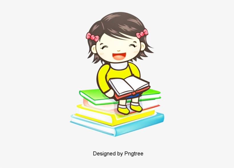 Cartoon Simple Hand Painted Student Learning Design Cartoon Baby Girl Reading Png Image Transparent Png Free Download On Seekpng
