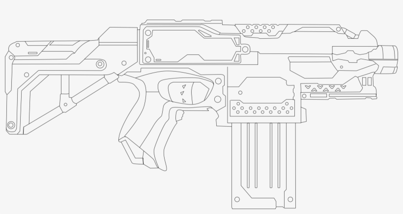 Nerf Stryfe Template - Nerf Gun Printable Coloring Pages PNG Image  Transparent PNG Free Download On SeekPNG