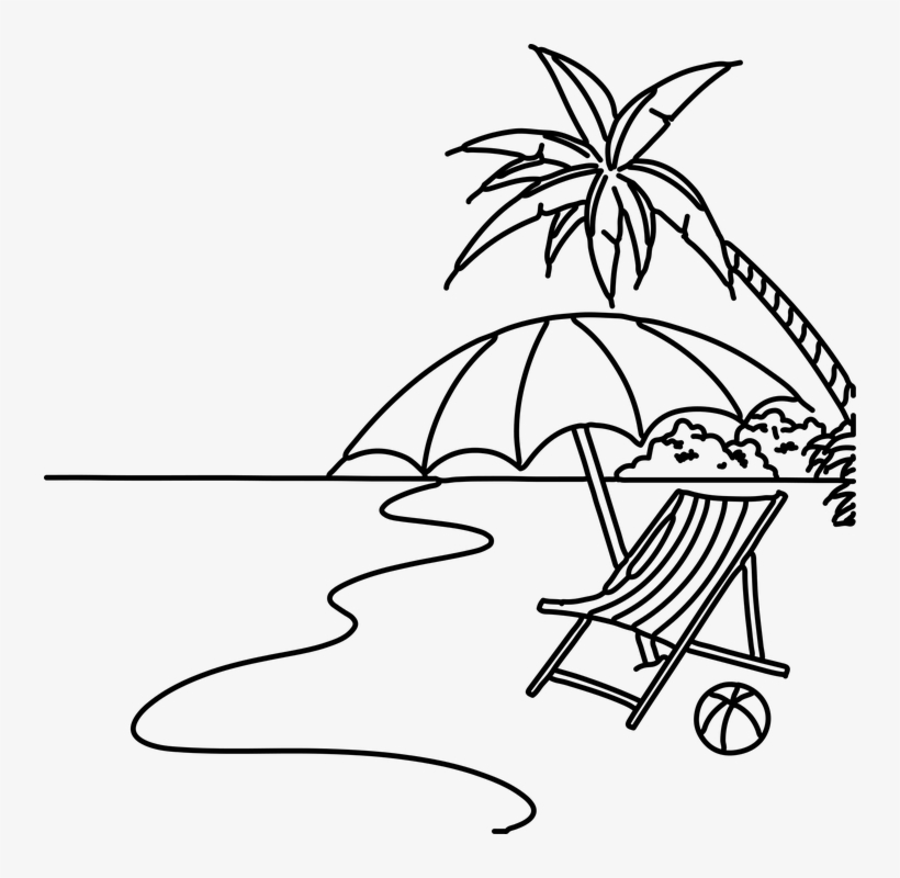 The Beach Png Black And White Transparent The Beach - Beach Drawing Easy Step By Step@seekpng.com