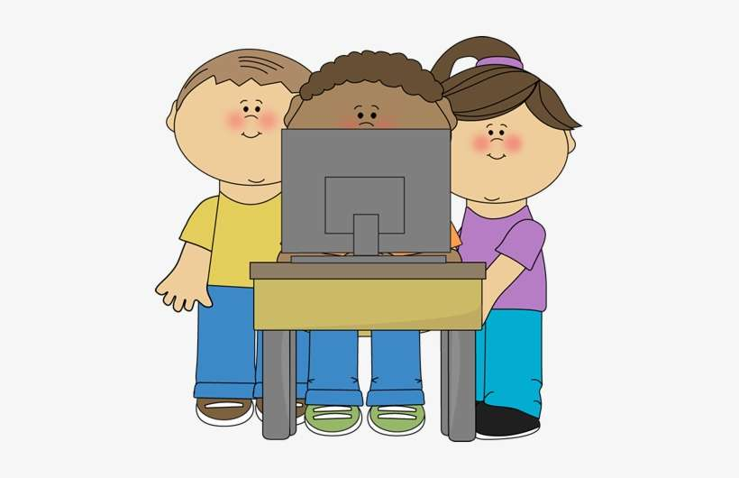 School Cliparts Computer Children On Computer Clipart Png Image Transparent Png Free Download On Seekpng