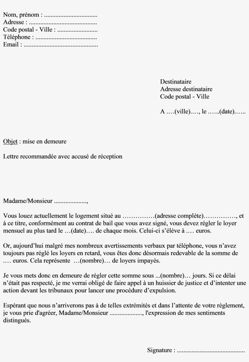 Modele De Lettre De Reclamation Pour Non Paiement - Déménagement Lettre De Résiliation Assurance ...