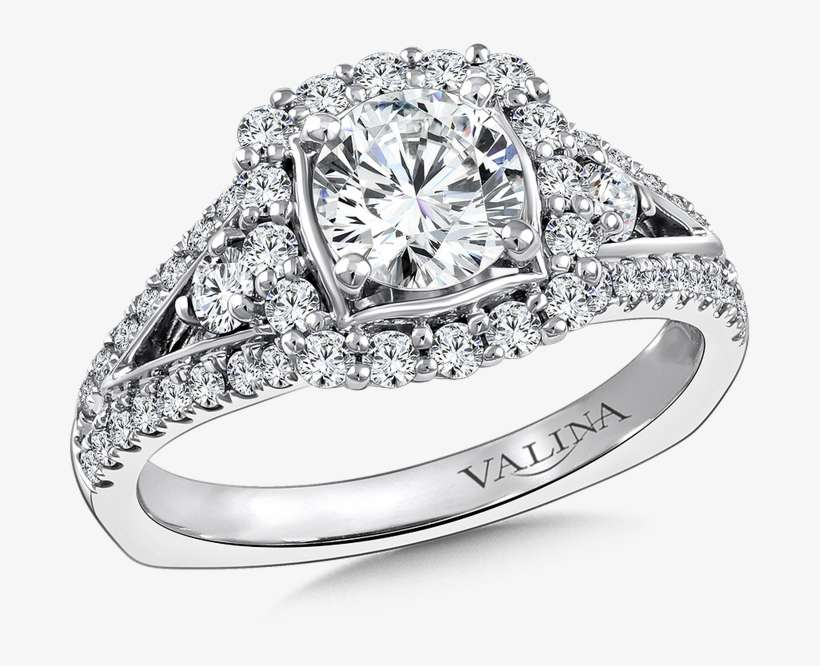 Valina Halo Engagement Ring Mounting In 14k White Gold