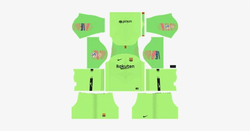 size 40 6de0e d1c5a Barcelona Goalkeeper Home Kit 2018-19 Dream League - Dream ...