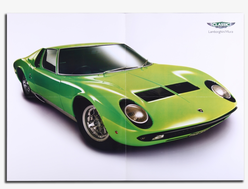 Lamborghini Miura Jaguar E Type Two Sided Poster Oldscooldrivers
