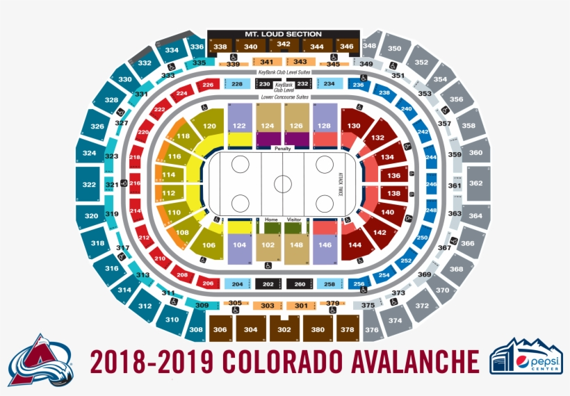 View seating chart hockey pepsi center seating png image