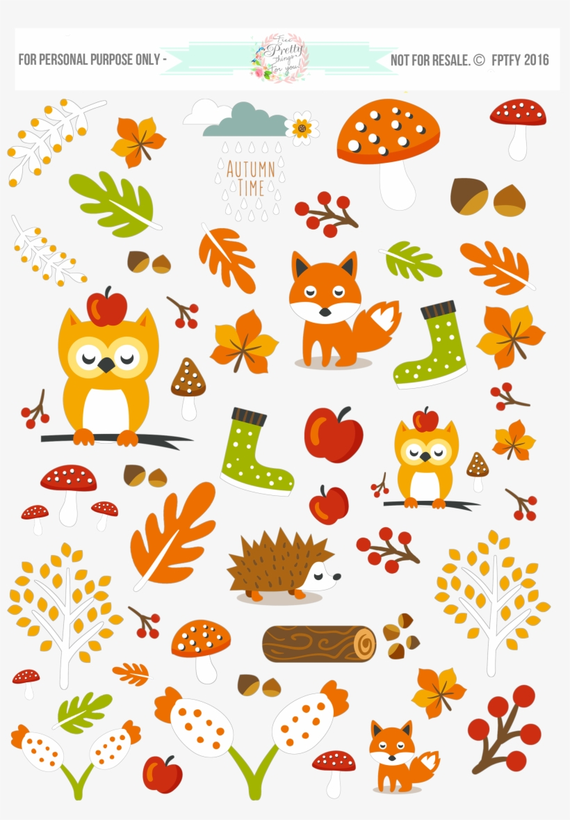 Pdf Png Jpeg - Free Fall Digital Planner Stickers PNG Image