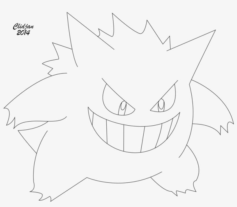 Gengar Lineart By Clidjan On Deviantart Gengar Coloring Pages Png Image Transparent Png Free Download On Seekpng