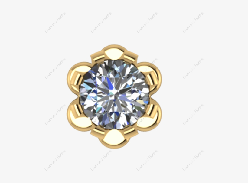 11cts Brilliant Diamond Nose Pin Threaded In 18 K Gold 10k White