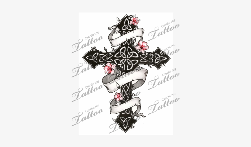 Marketplace Tattoo Gothic And Floral Celtic Cross Celtic Cross