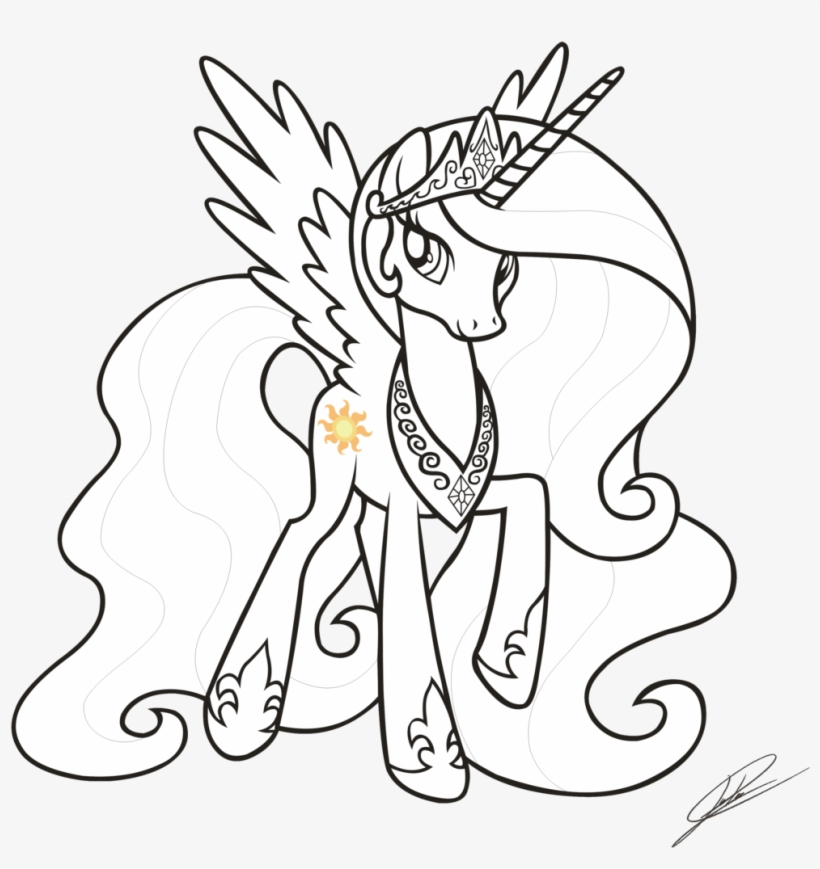 Princess Celestia Drawing At Getdrawings My Little Pony Coloring