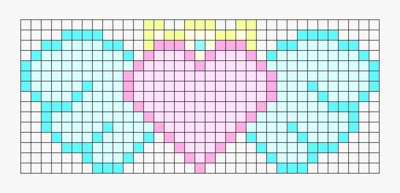 Kawaii Winged Heart Test Perler Bead Pattern / Bead - Kawaii