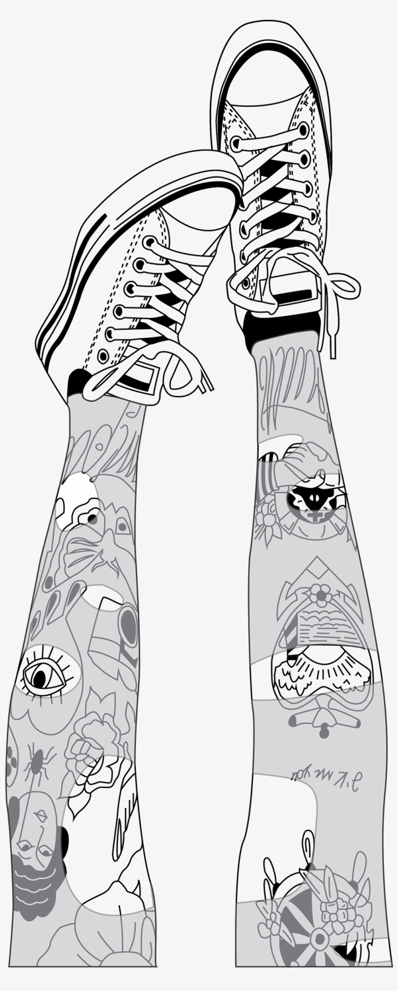 Outlines Pies Zapatillas Tumblr Dibujo Negro Hipster Drawing Png
