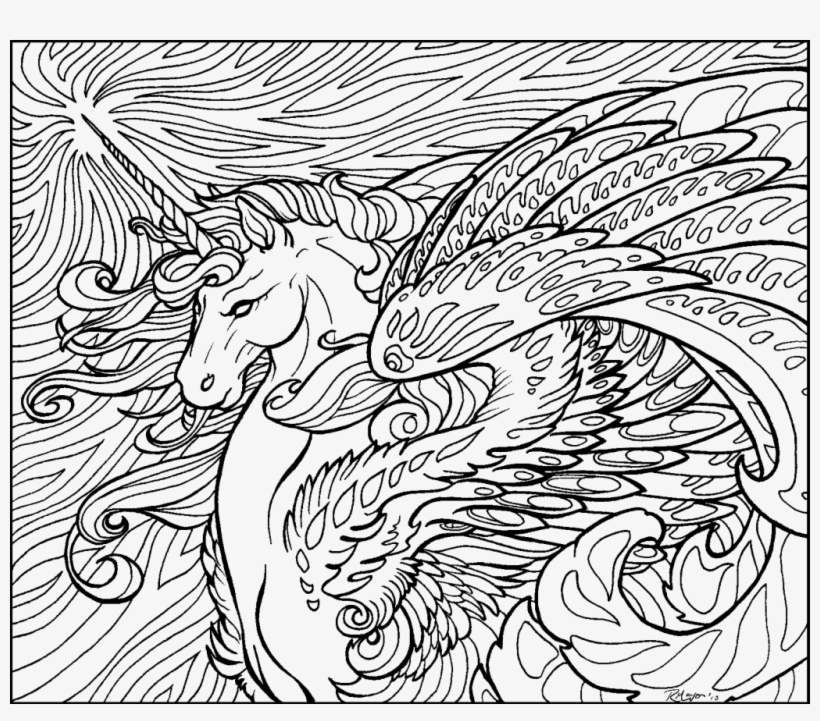 Free Coloring Pages With Numbers Hard Difficul - Hard Coloring Pages Of  Unicorns PNG Image Transparent PNG Free Download On SeekPNG