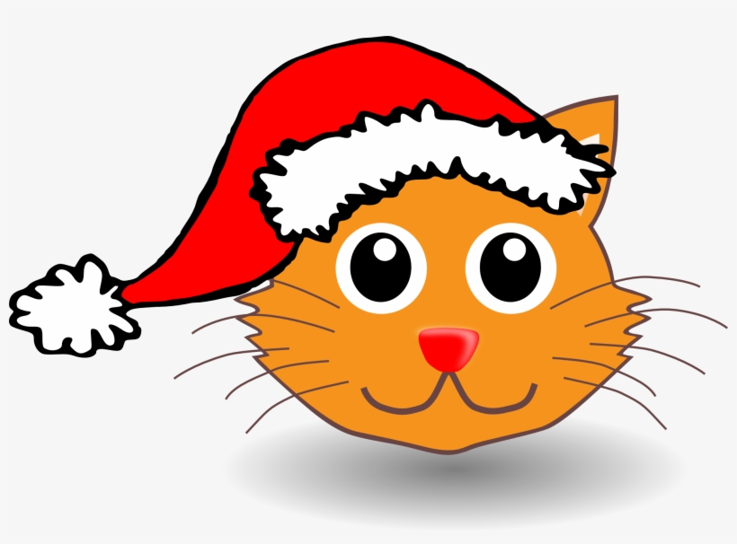 Clipart Cat Face Cartoon Cat With Santa Hat Png Image