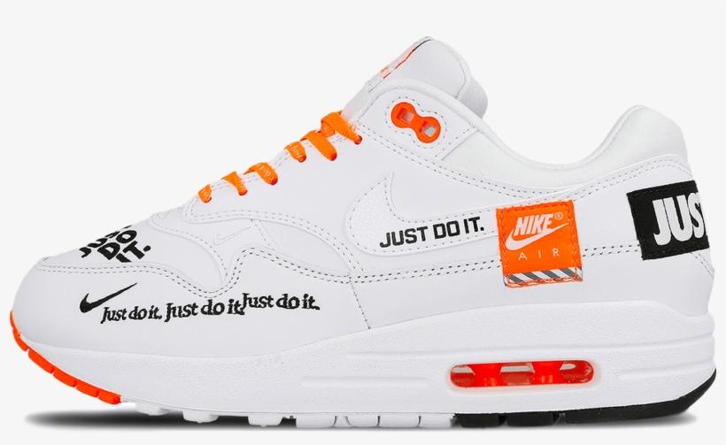 timeless design 785aa 19ec6 Air Max 1 Lux Just Do It W White / Black / Total Orange - Nike Air Max 1 Lx  White