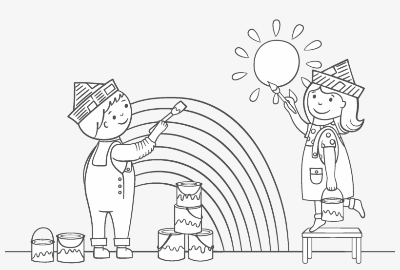 - Kids Painting Coloring Page Rainy Day Art Framing Co - Kids Painting Coloring  Pages PNG Image Transparent PNG Free Download On SeekPNG