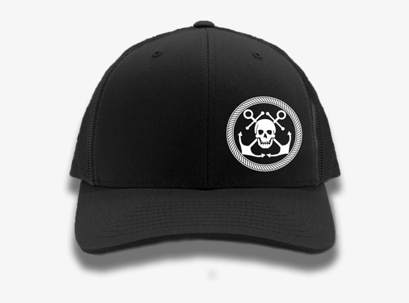 c95eaf83e5b1d Black   White Anchor   Skull Flexfit Trucker Hat - Pirate PNG Image ...