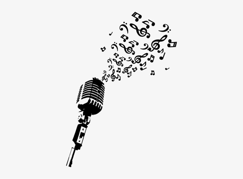 Autocolante Decorativo Microfone Notas Musicais Stickalz Llc