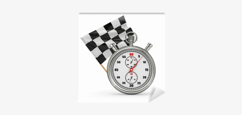 Stopwatch With Checkered Flag - Stopwatch PNG Image