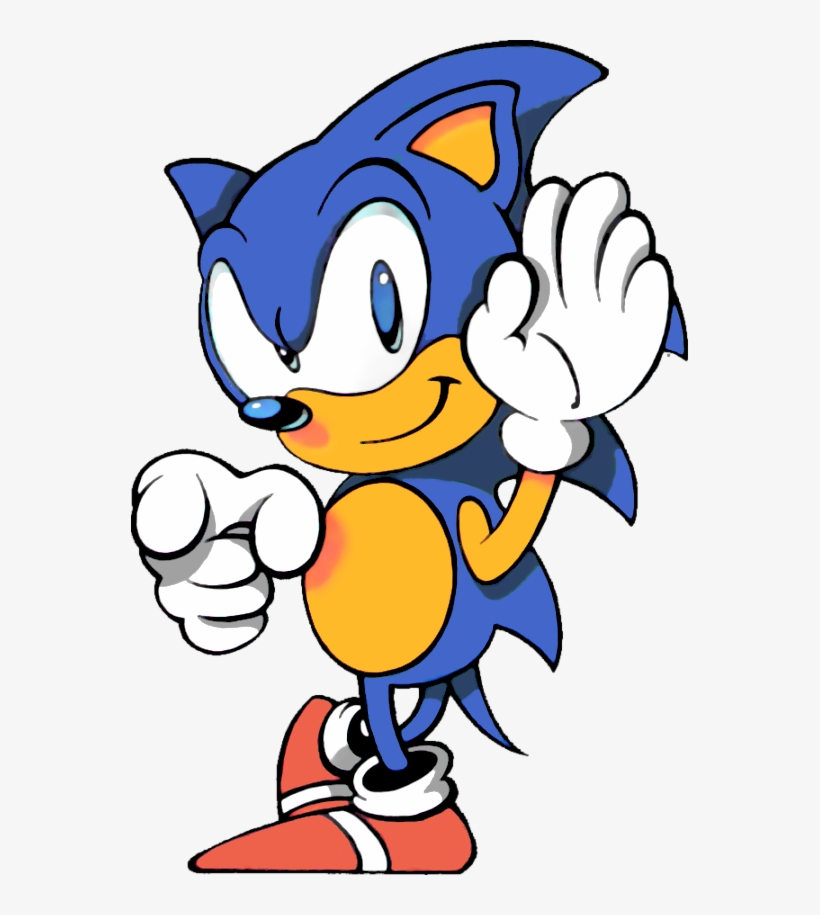 Sonic The Hedgehog Pointing Sonic The Hedgehog 1991 Artwork Png Image Transparent Png Free Download On Seekpng