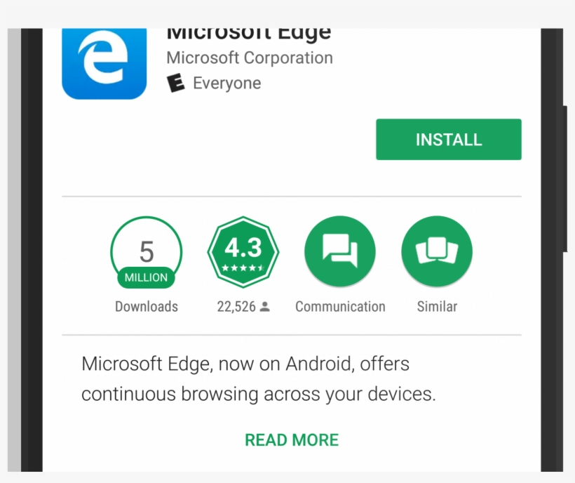 Microsoft Edge In The Google Play Store - Play Store Update Button