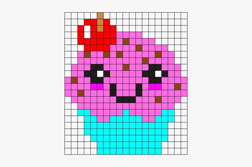 Cute Cupcake Perler Bead Pattern / Bead Sprite - Cupcake