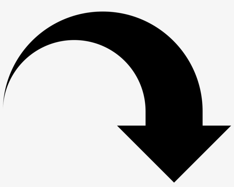 Downward Arrow Curve Comments - Black Curved Arrow Clipart ...