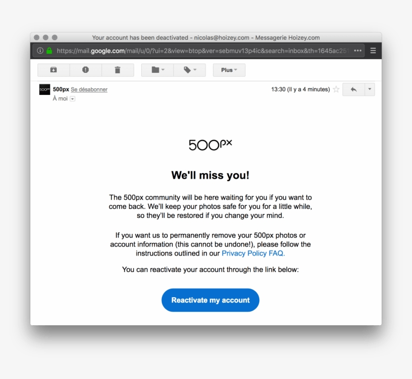 500px E-mail Announcing My Account Has Been Deactivated - Email PNG