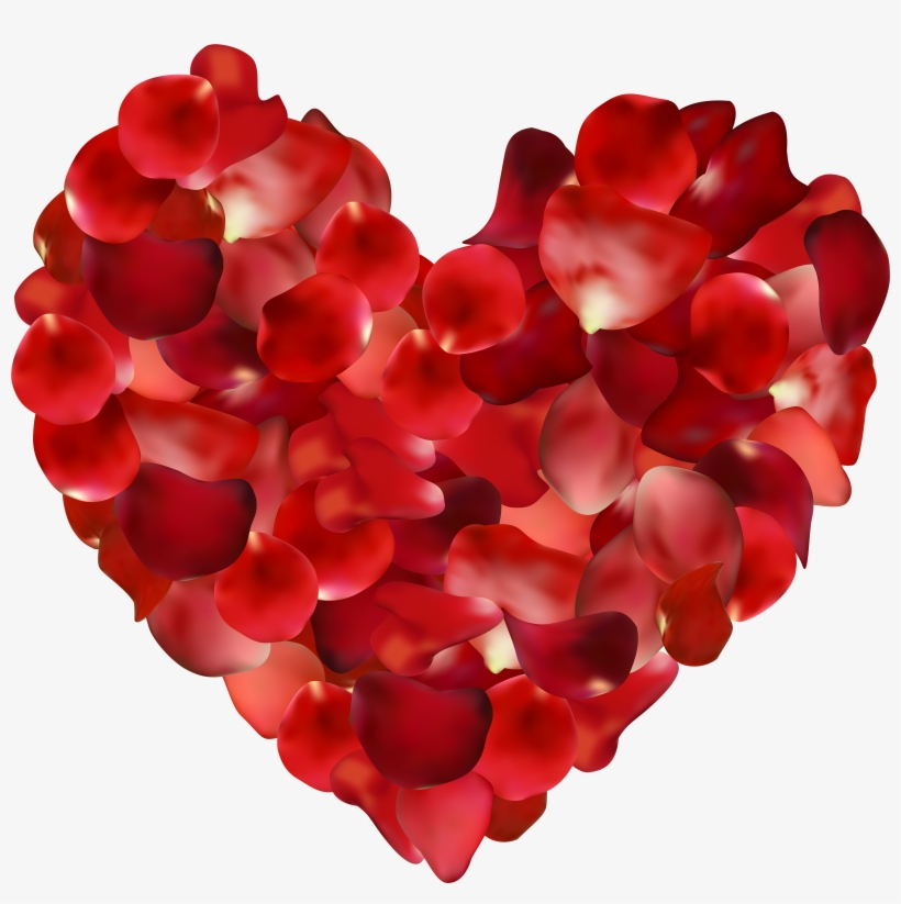 Rose Petals Hearts Transparent Png Clip Art Image - Heart With Rose Petals@seekpng.com