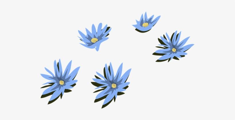 Water Lily Lilies Blue Flowers Floral Patt Vektor Bunga Biru Png