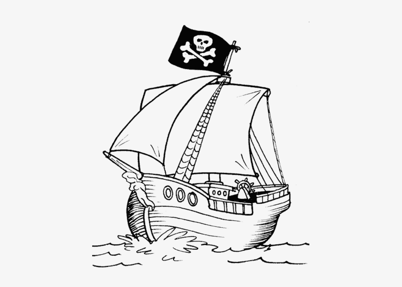 Pirate Ship - Simple Pirate Ship Drawing PNG Image | Transparent ...