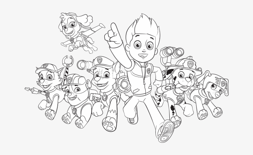 Paw Patrol Group Group Paw Patrol Coloring Pages Png Image Transparent Png Free Download On Seekpng