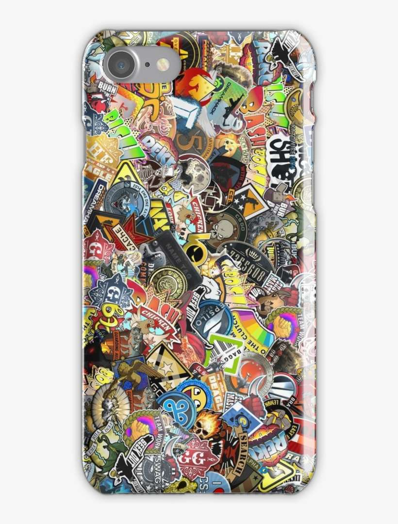 Sticker bomb iphone 7 snap case csgo stickers phone case transparent png download