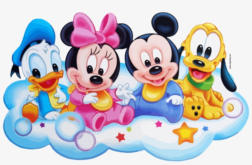 Mickey Friends On Cloud Clipart Png Disney Baby Shower Invitations
