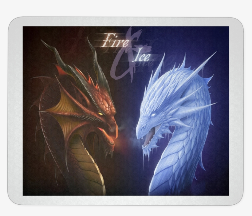 Fire And Ice Dragons Fantasy Mousepad - Good Vs Evil Fire
