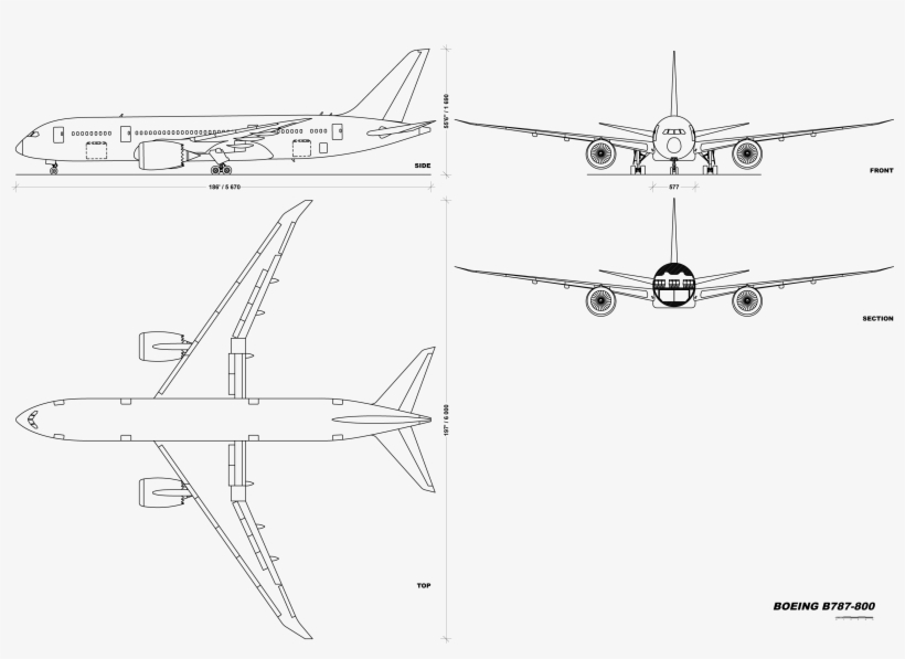 747 Drawing Blueprint - Boeing 787 3 View Drawing PNG Image