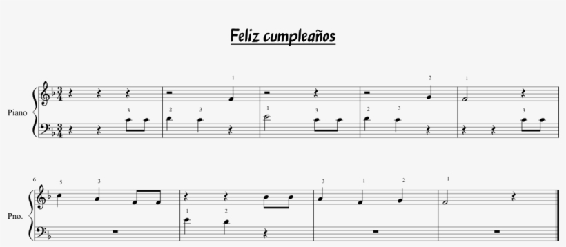 Feliz Cumpleaños Sheet Music 1 Of 1 Pages - Mother 3 PNG Image