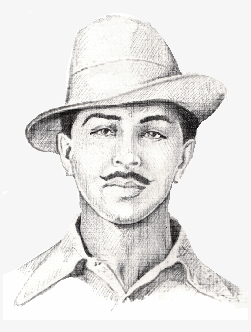 Pencil drawing of bhagat singh transparent png download